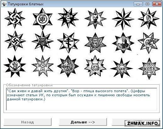 Обозначение татуировок с их рисунками